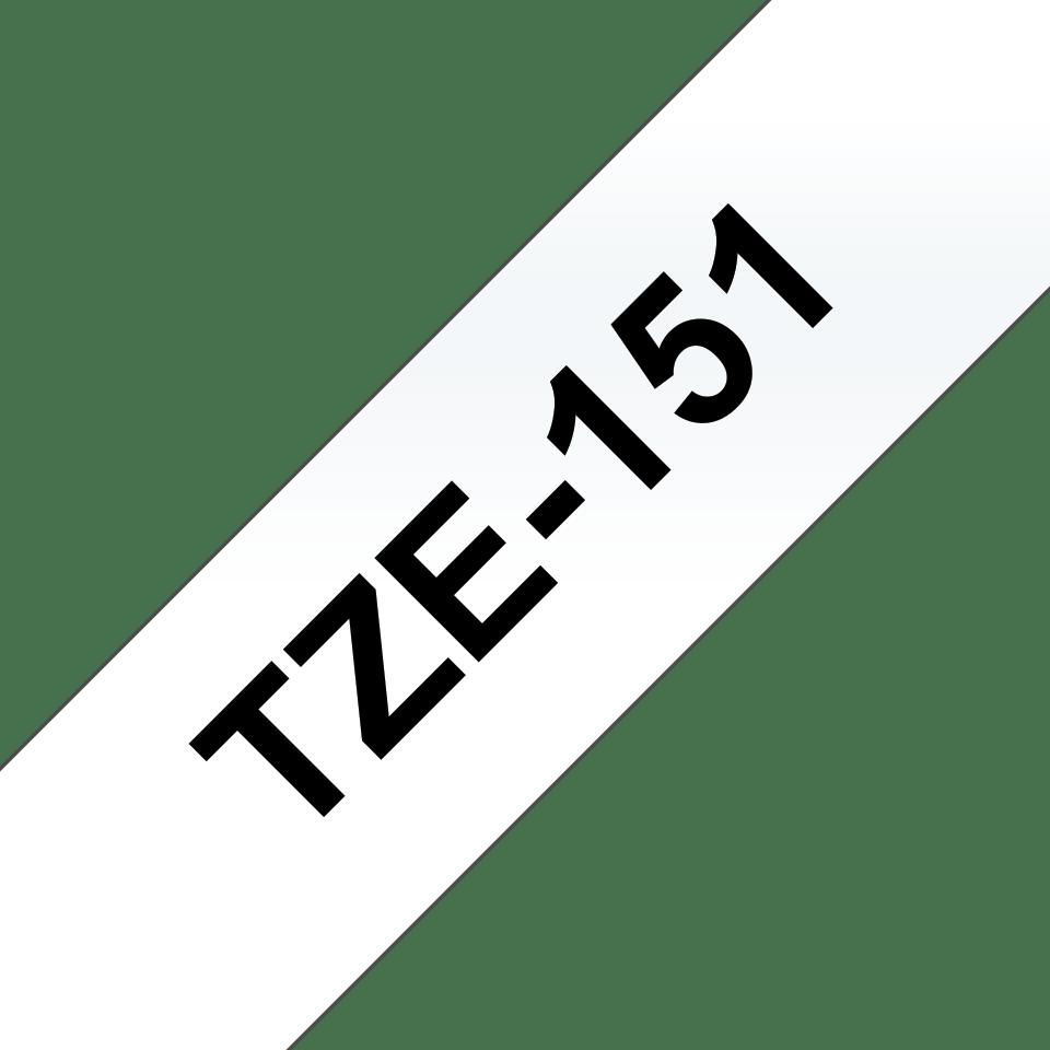 Original Brother TZe151 merketape – sort på klar, 24 mm bred