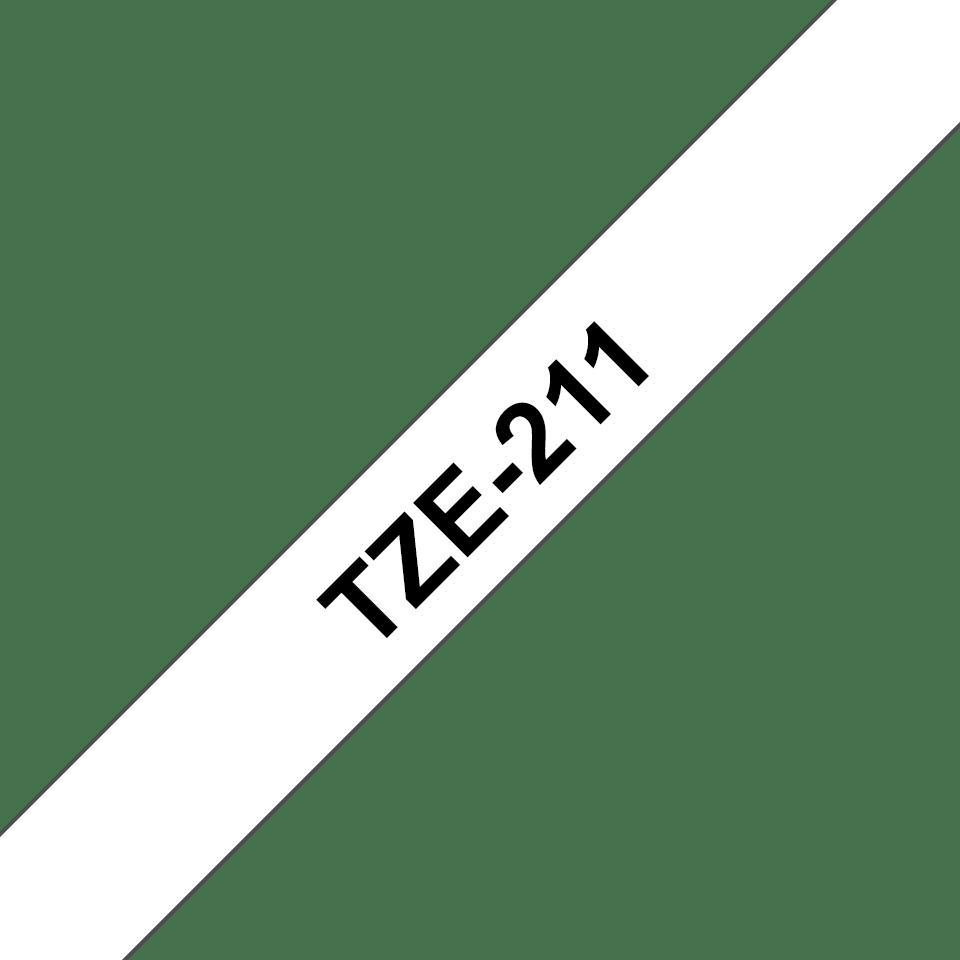 Original Brother TZe211 merketape – sort på hvit, 6 mm bred