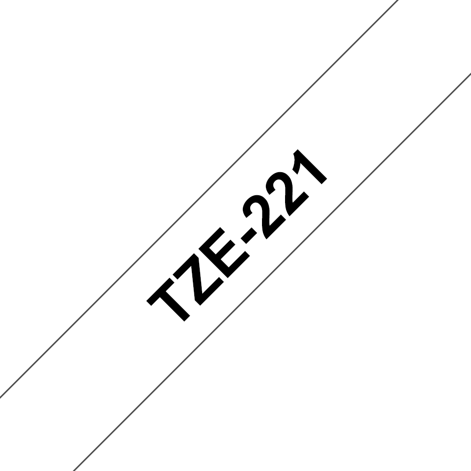 Brother original TZe221 merketape - sort på hvit, 9 mm bred