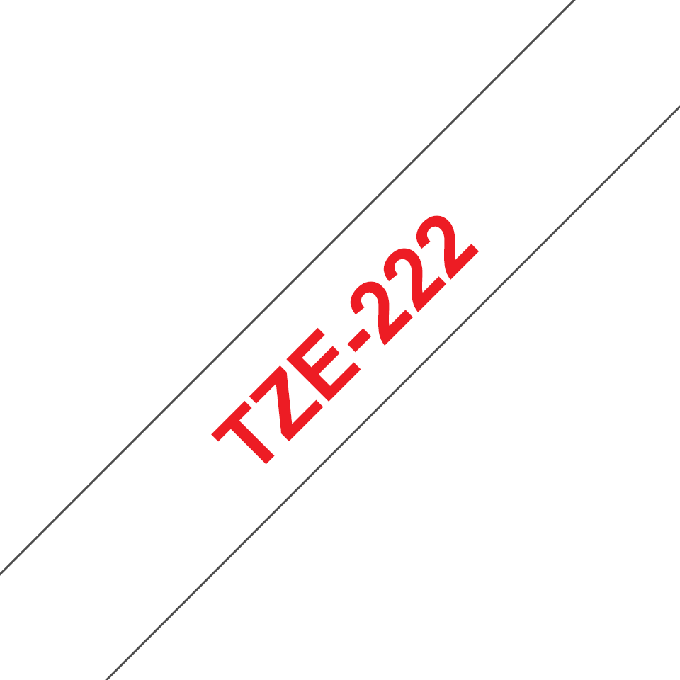 Original Brother TZe222 merketape – rød på hvit, 9 mm bred