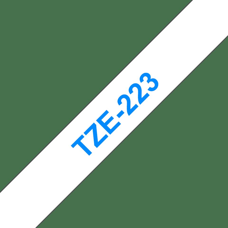 Original Brother TZe223 merketape – blå på hvit, 9 mm bred 3