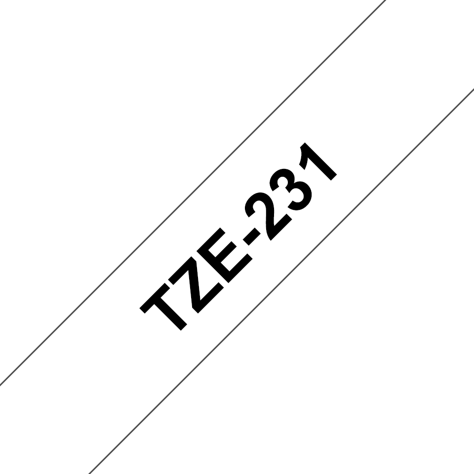 Brother original TZe231 merketape - sort på hvit, 12 mm bred