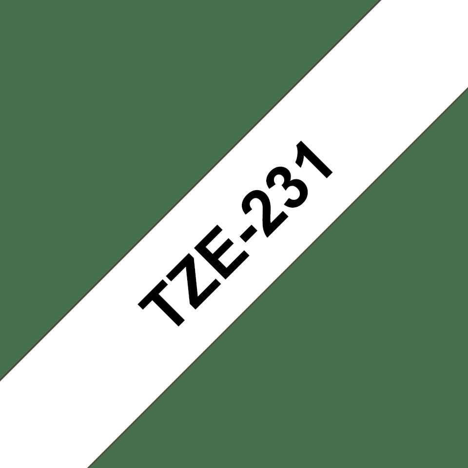 Brother original TZe231 merketape - sort på hvit, 12 mm bred 3