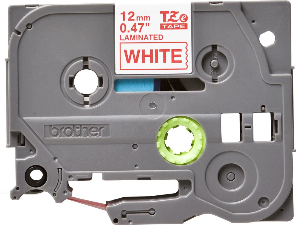 Original Brother TZe232 merketape – rød på hvit, 12 mm bred 2