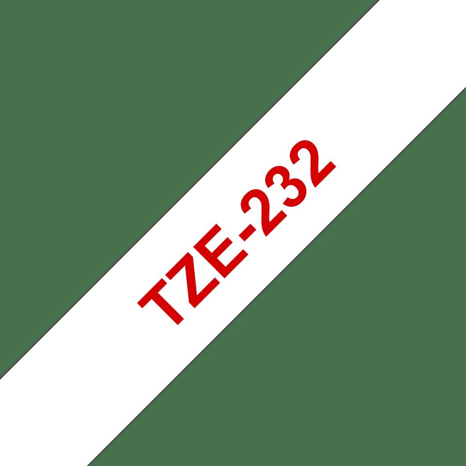 Original Brother TZe232 merketape – rød på hvit, 12 mm bred