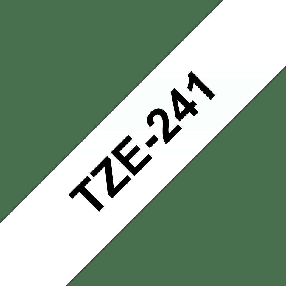 Original Brother TZe241 merketape – sort på hvit, 18 mm bred
