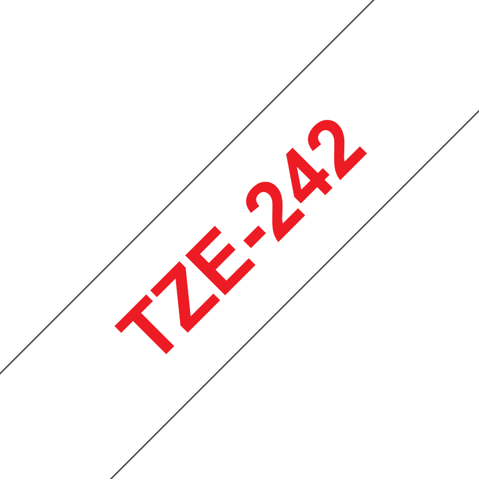 Original Brother TZe242 merketape – rød på hvit, 18 mm bred