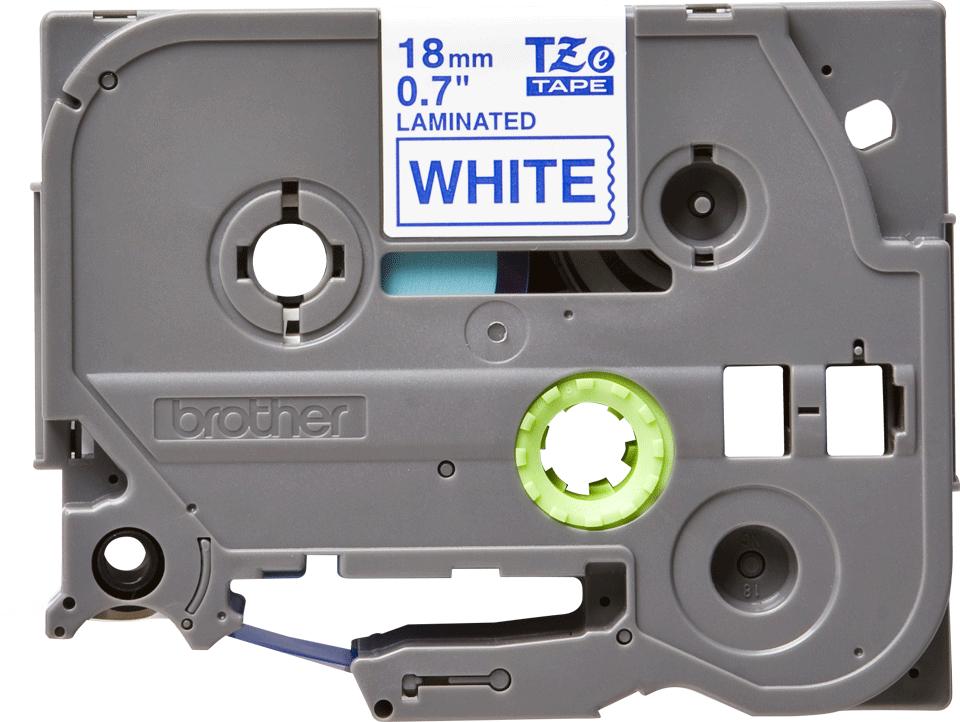Original Brother TZe243 merketape – blå på hvit, 18 mm bred