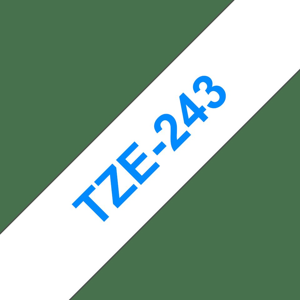 Original Brother TZe243 merketape – blå på hvit, 18 mm bred 3