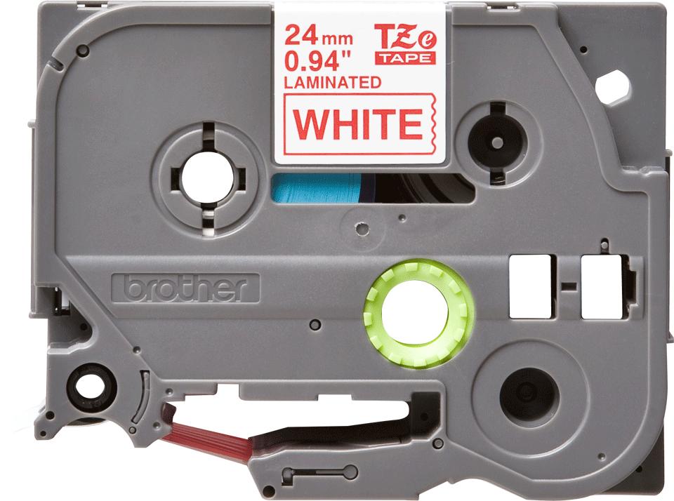 Original Brother TZe252 merketape – rød på hvit, 24 mm bred 2