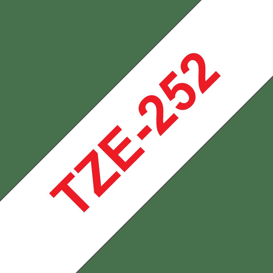 Original Brother TZe252 merketape – rød på hvit, 24 mm bred