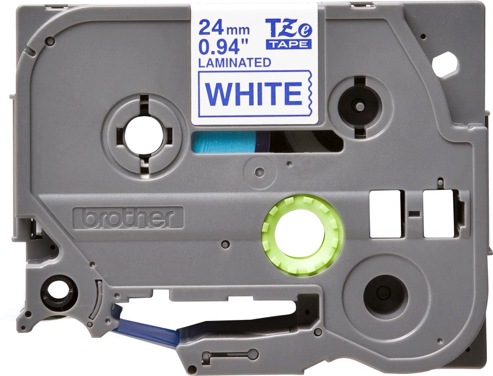 Original Brother TZe253 merketape – blå på hvit, 24 mm bred 2