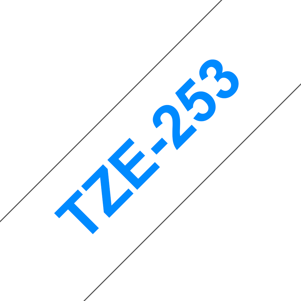 Original Brother TZe253 merketape – blå på hvit, 24 mm bred 3