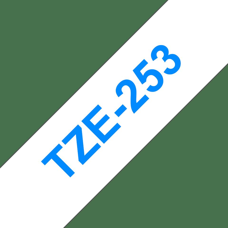 Original Brother TZe253 merketape – blå på hvit, 24 mm bred