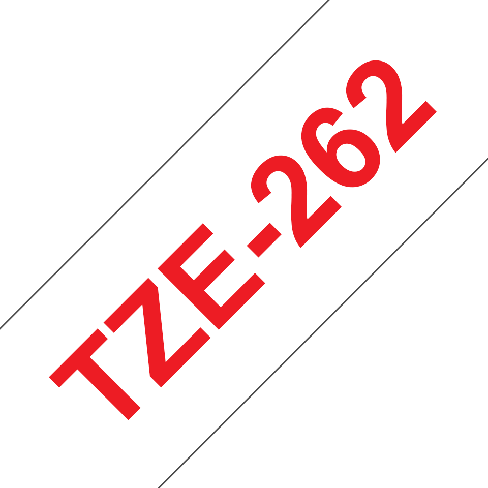 Original Brother TZe262 merketape – rød på hvit, 36 mm bred