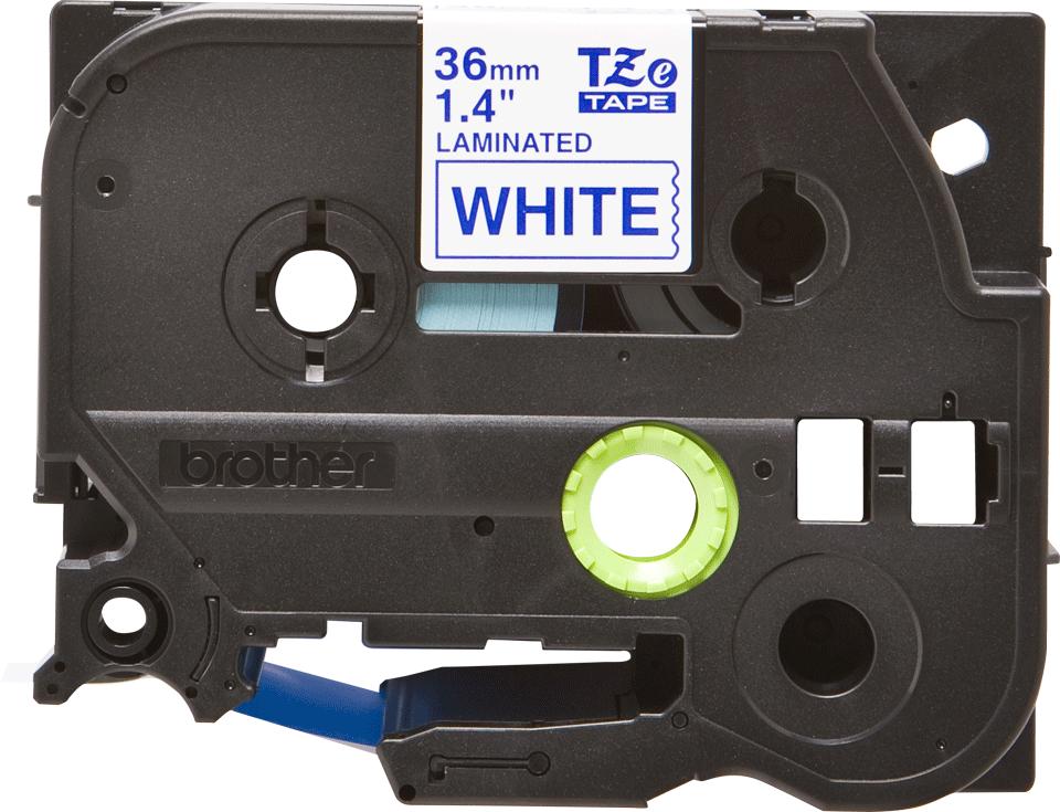 Original Brother TZe263 merketape – blå på hvit, 36 mm bred