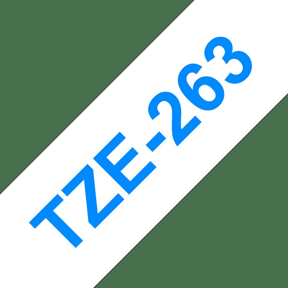 Original Brother TZe263 merketape – blå på hvit, 36 mm bred 3