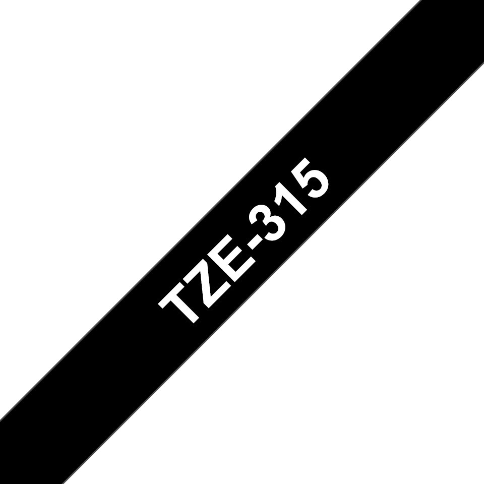 Original Brother TZe315 merketape – hvit på sort, 6 mm bred