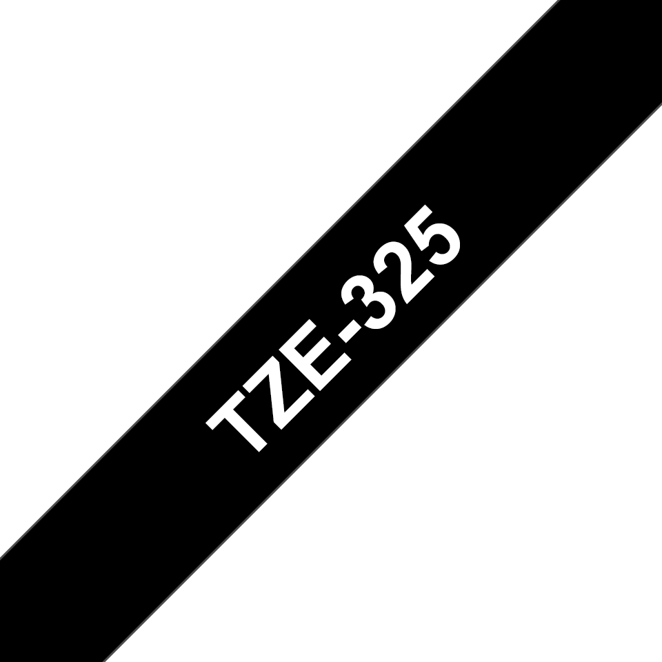 Original Brother TZe325 merketape – hvit på sort, 9 mm bred