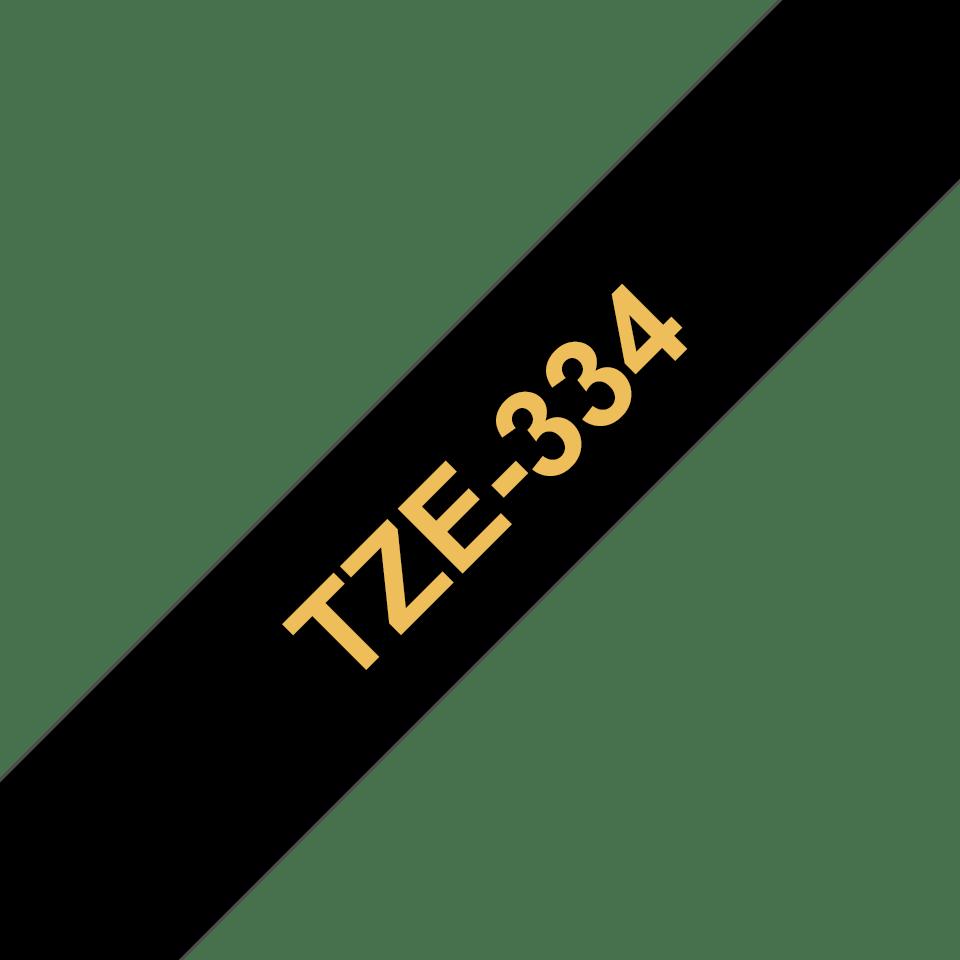 Original Brother TZe334 merketape – gull på sort, 12 mm bred 3