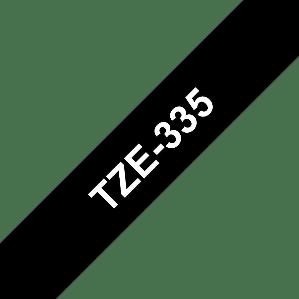 Brother orignal TZe335 original merketape - hvit på sort, 12 mm bred
