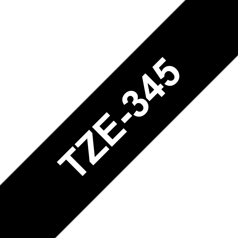 Original Brother TZe345 merketape – hvit på sort, 18 mm bred 3