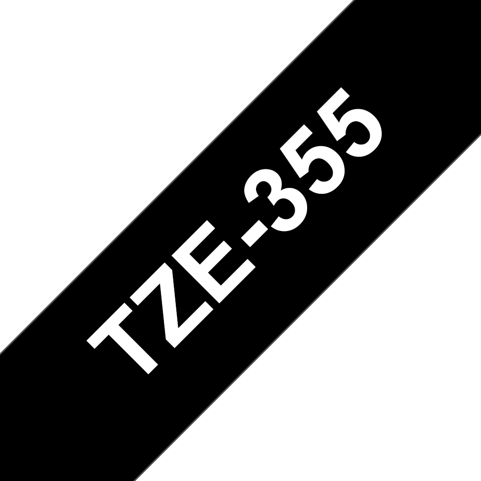 Original Brother TZe355 merketape – hvit på sort, 24 mm bred