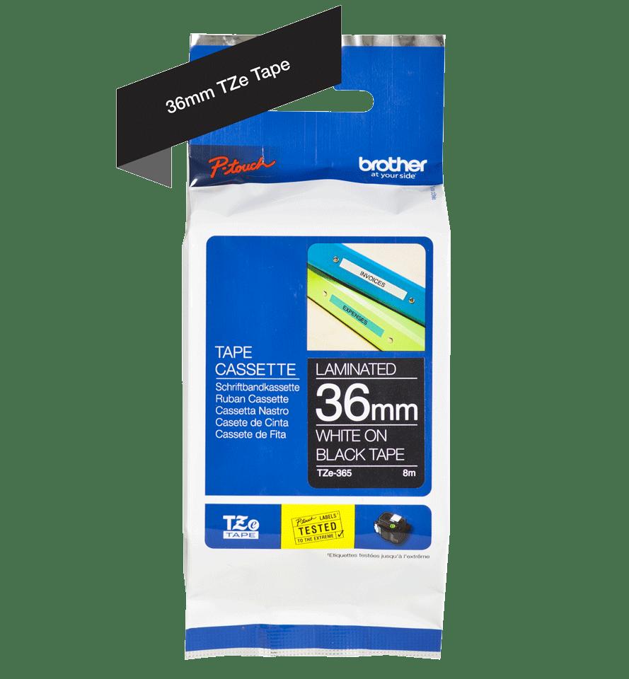Original Brother TZe365 merketape – hvit på sort, 36 mm bred 3