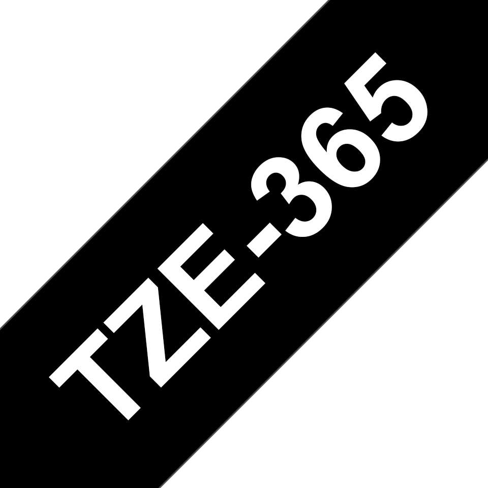 Original Brother TZe365 merketape – hvit på sort, 36 mm bred