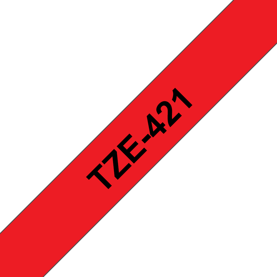 Original Brother TZe421 merketape – sort på rød, 9 mm bred