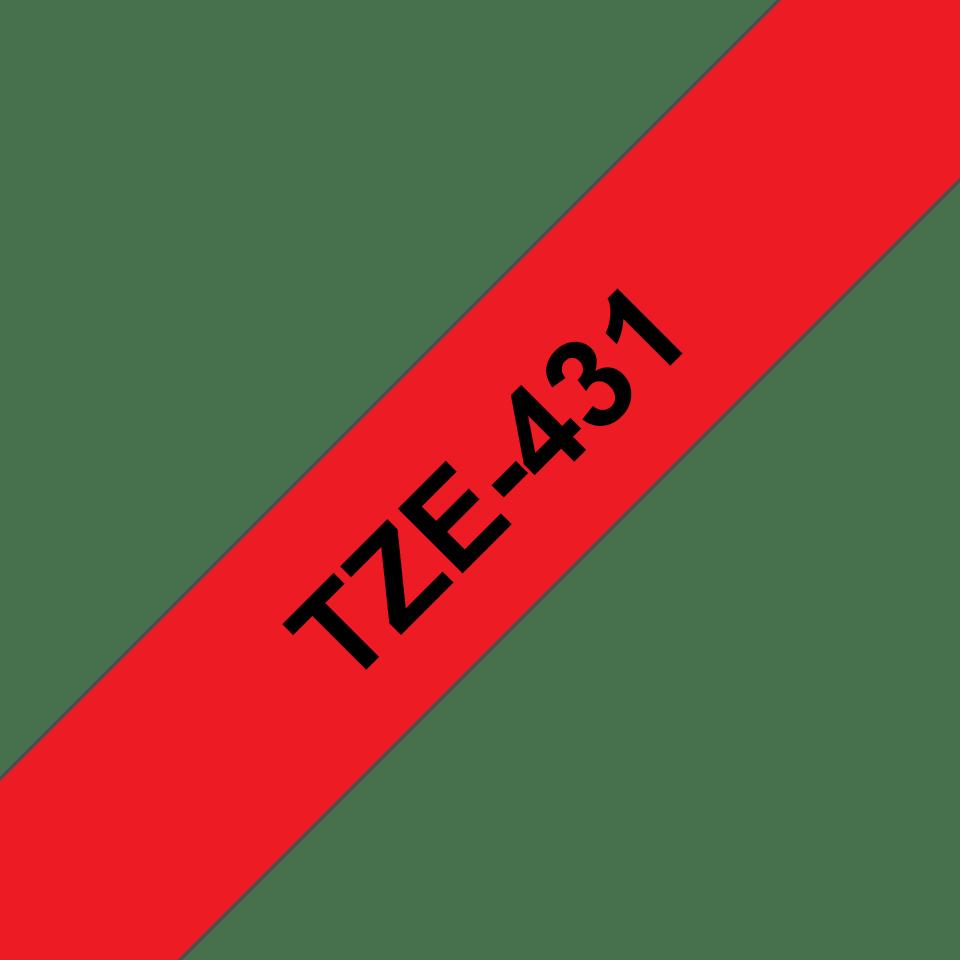Original Brother TZe431 merketape – sort på rød, 12 mm bred