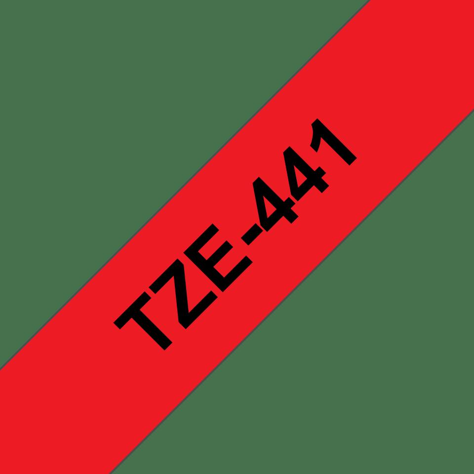 Original Brother TZe441 merketape – sort på rød, 18 mm bred 3