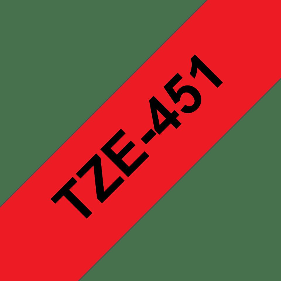 Original Brother TZe451 merketape – sort på rød, 24 mm bred