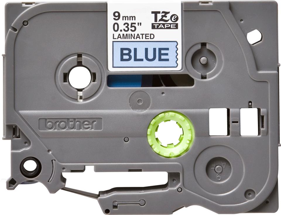 Original Brother TZe521 merketape – sort på blå, 9 mm bred 2
