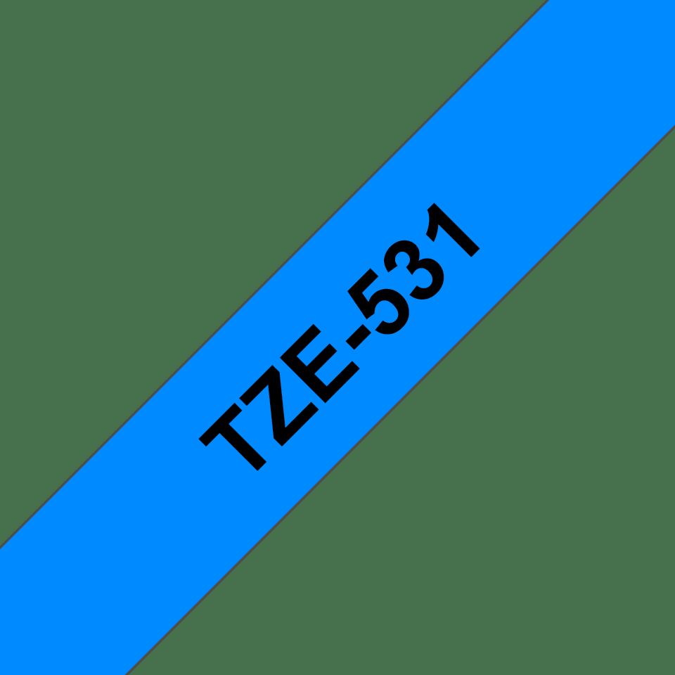 Original Brother TZe531 merketape – sort på blå, 12 mm bred 2
