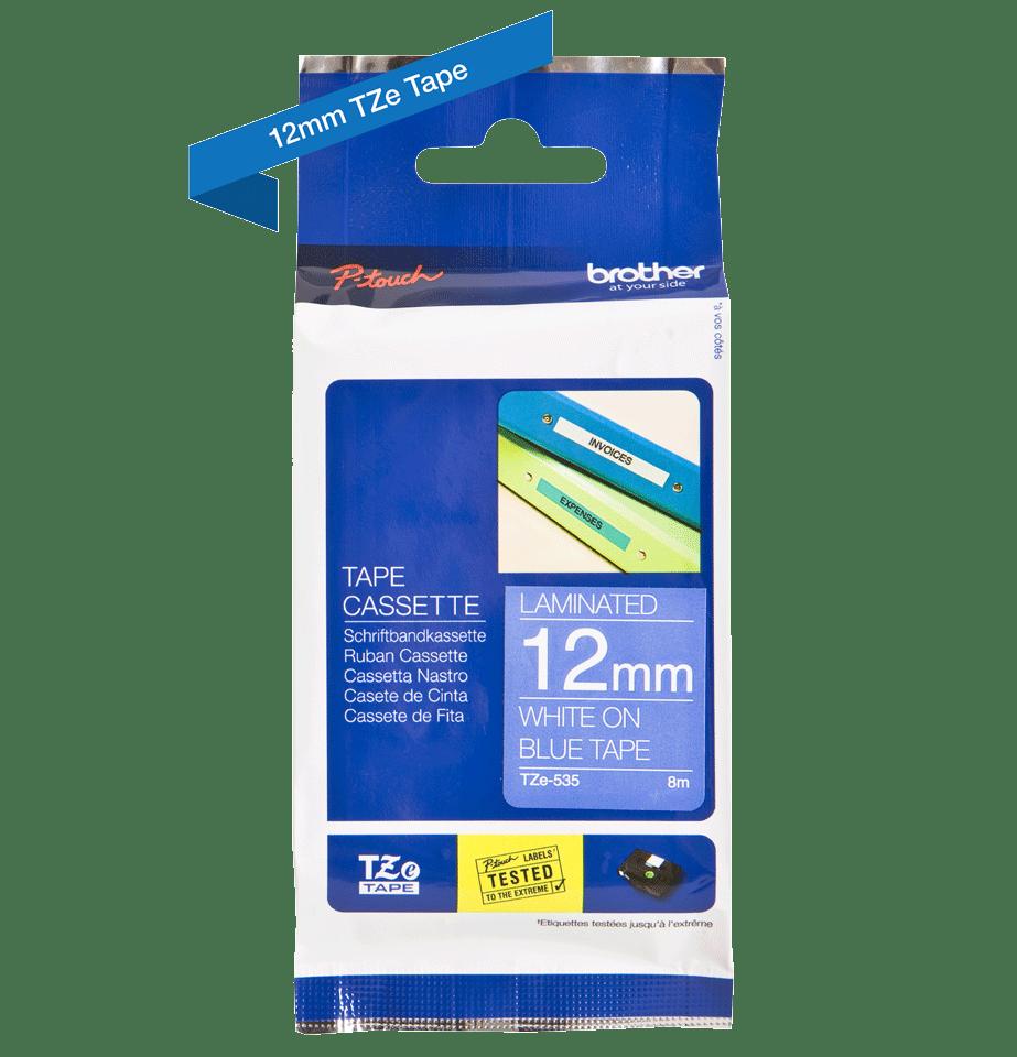 Original Brother TZe535 merketape – hvit på blå, 12 mm bred 3