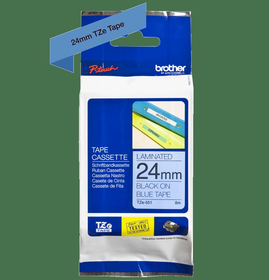 Original Brother TZe551 merketape – sort på blå, 24 mm bred 3