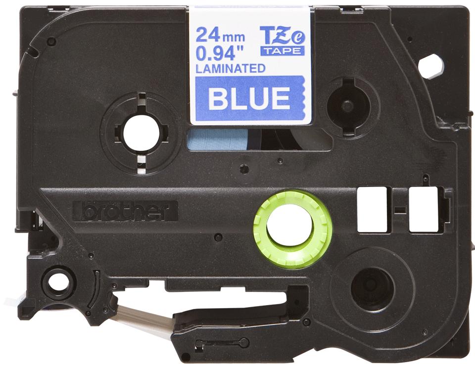 Original Brother TZe555 merketape – hvit på blå, 24 mm bred 2