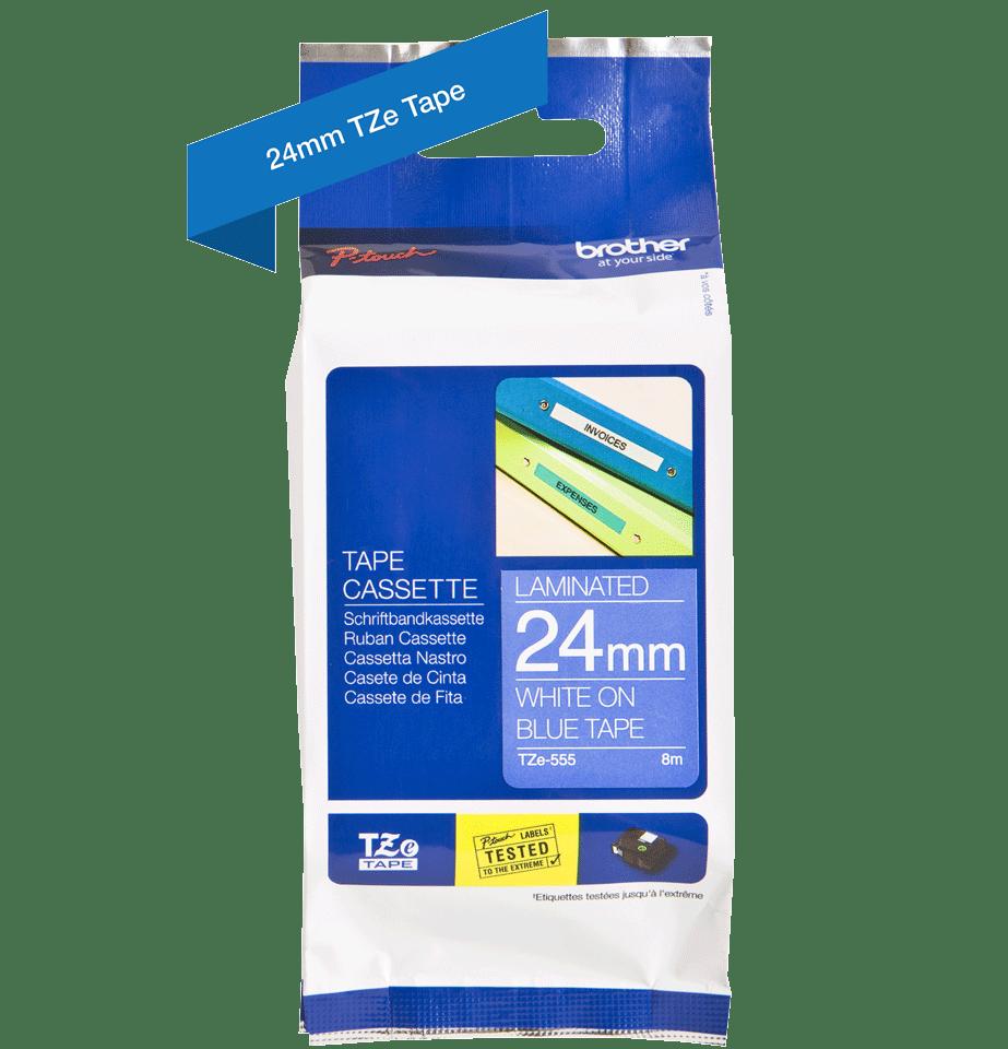 Original Brother TZe555 merketape – hvit på blå, 24 mm bred 3
