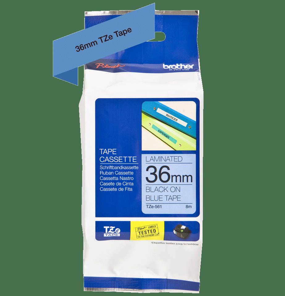 Original Brother TZe561 merketape – sort på blå, 36 mm bred 3