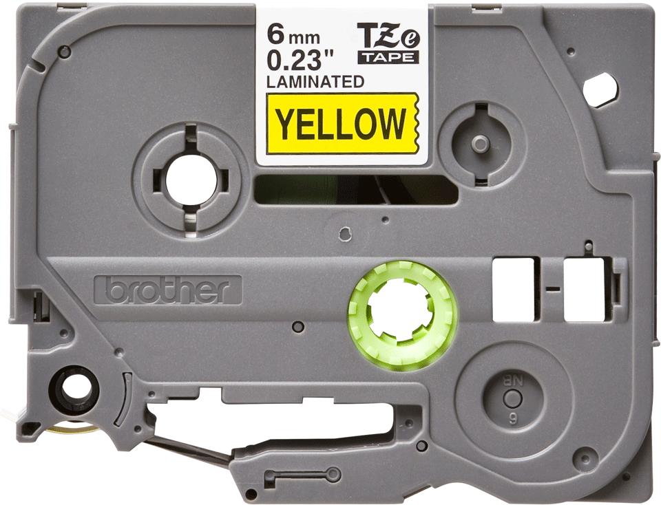 Original Brother TZe611 merketape – sort på gul, 6 mm bred 2