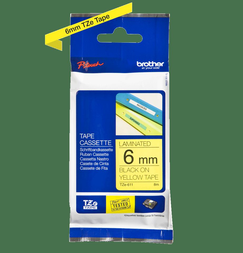 Original Brother TZe611 merketape – sort på gul, 6 mm bred 3