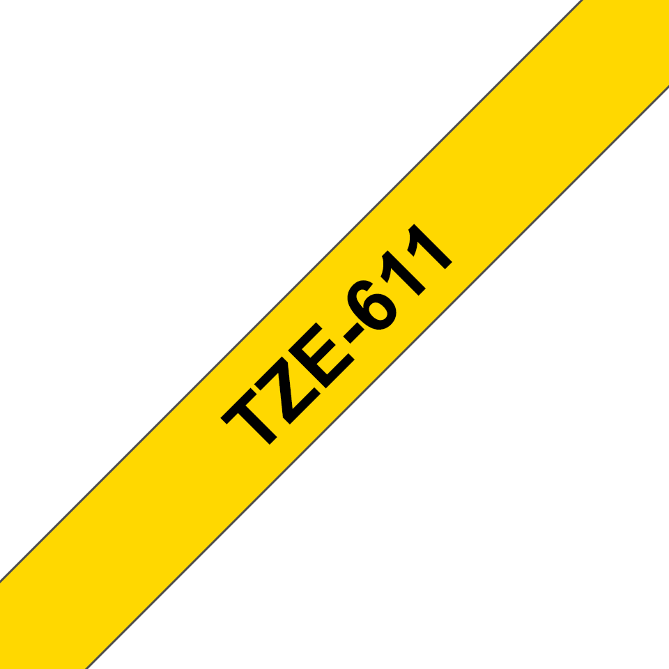 Original Brother TZe611 merketape – sort på gul, 6 mm bred