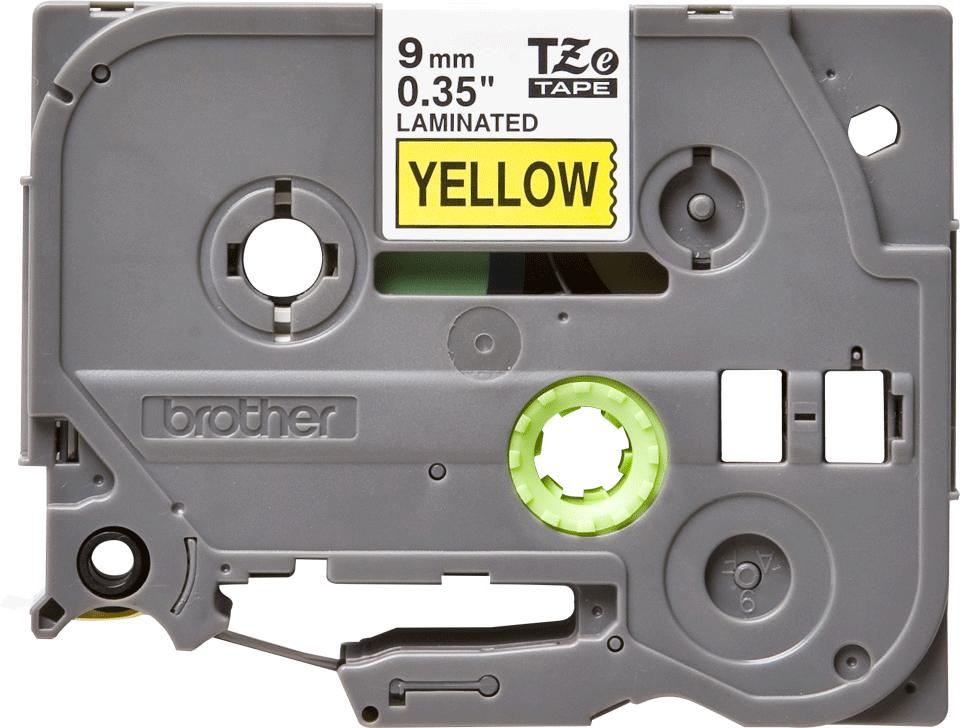 Original Brother TZe621 merketape – sort på gul, 9 mm bred 2