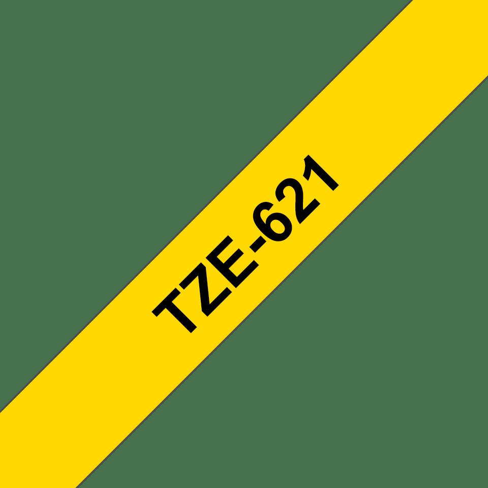 Original Brother TZe621 merketape – sort på gul, 9 mm bred