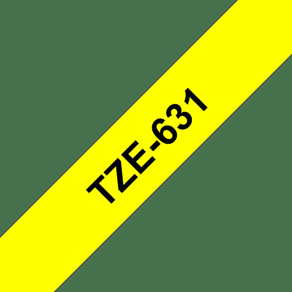 Brother original TZe631 laminert merketape - sort på gul, 12 mm bred