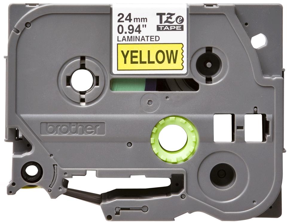 Original Brother TZe651 merketape – sort på gul, 24 mm bred