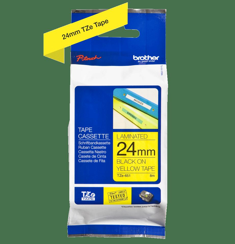 Original Brother TZe651 merketape – sort på gul, 24 mm bred 2