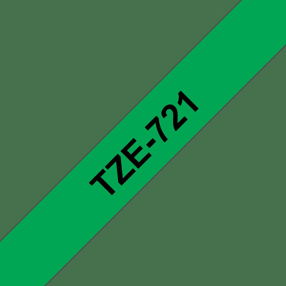 Original Brother TZe721 merketape – sort på grønn, 9 mm bred
