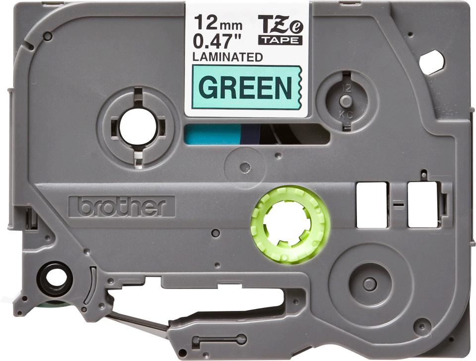 Original Brother TZe731 merketape – sort på grønn, 12 mm bred 2